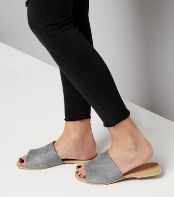 Wide Fit - Mules grises en daim