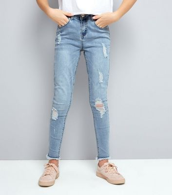 Teens Pale Blue Ripped Fray Hem Skinny Jeans