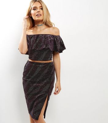 Petite Dark Purple Giltter Velvet Pencil Skirt