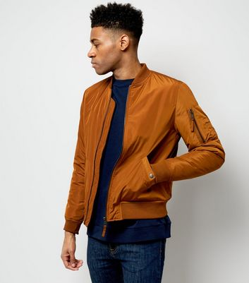 Camel Pocket Sleeve Bomber Jacket