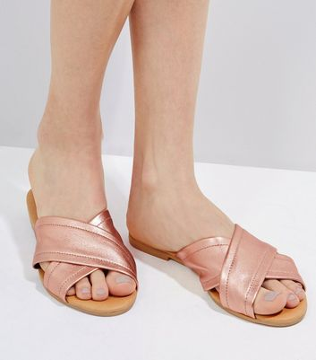 Rose Gold Leather Cross Strap Mules