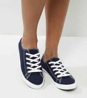 Navy Lace Up Trainers