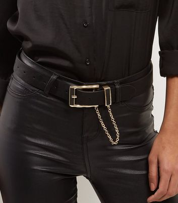 Black Leather-Look Gold Chain Jeans Belt