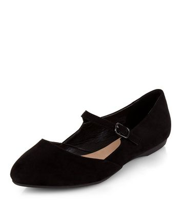 Teens Black Suedette Strap Front School Pumps