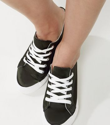 Wide Fit Dark Green Platform Lace Up Trainers