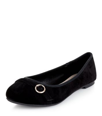 Teens Black Suedette Buckle School Pumps