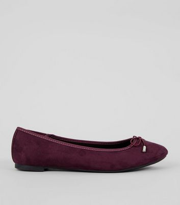 Dark Purple Suedette Ballet Pumps