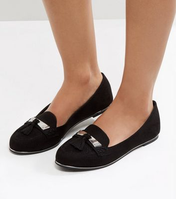 Black Suedette Metal Trim Tassel Front Loafers