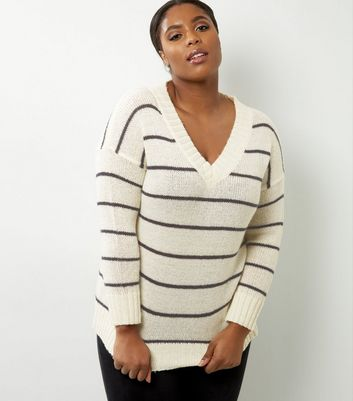 Curves White Stripe V Neck Jumper