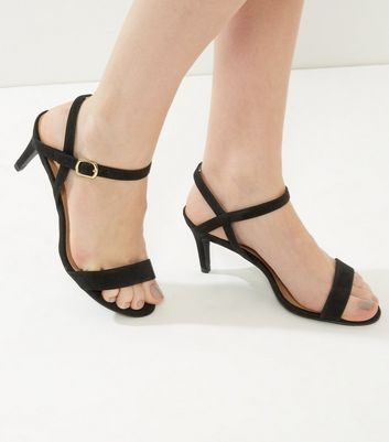 Black Suedette Low Heeled Sandals