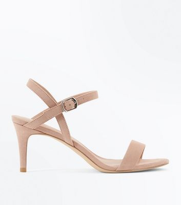 Nude Suedette Low Heeled Sandals