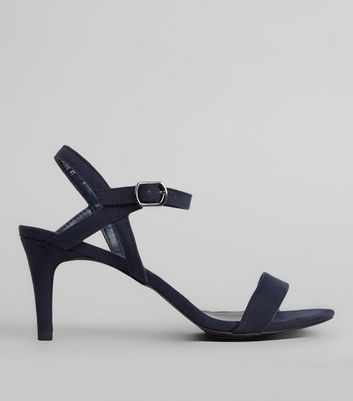 Navy Suedette Low Heeled Sandals
