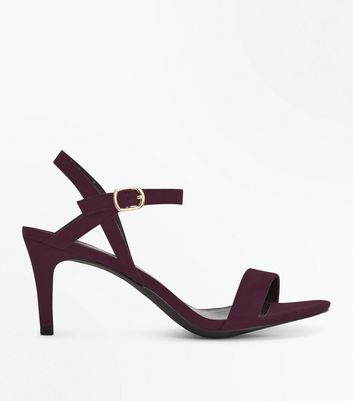 Purple Suedette Low Heeled Sandals