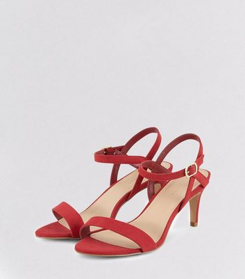 Red Suedette Low Heeled Sandals