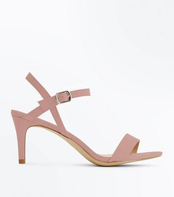 Pink Suedette Low Heeled Sandals