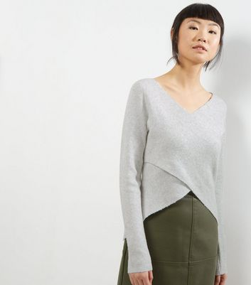 Noisy May White Wrap Front Long Sleeve Jumper