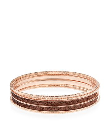 Lot de 5 bracelets joncs bronze à paillettes