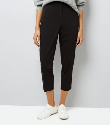 Black Slim Leg Cropped Trousers