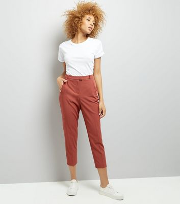Rust Slim Leg Cropped Trousers