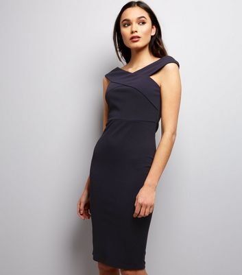 AX Paris Navy Cross Front Midi Dress