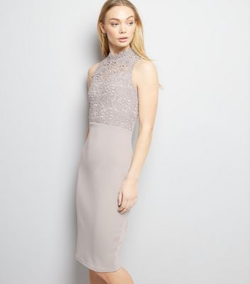 AX Paris Grey Lace Neck Midi Dress