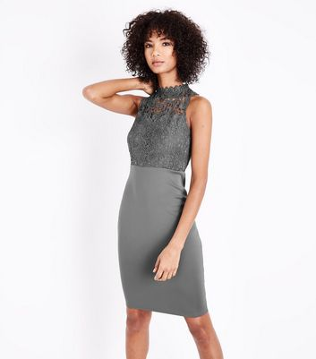 AX Paris Pewter Lace Bodice Midi Dress