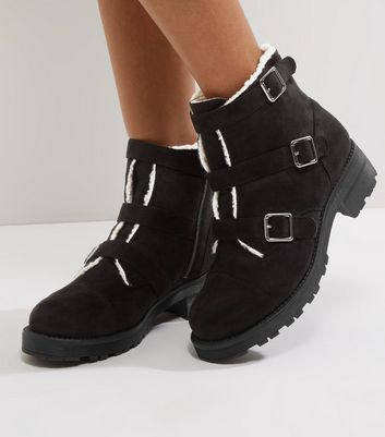Wide Fit Black Suedette Faux Shearling Trim Ankle Boots