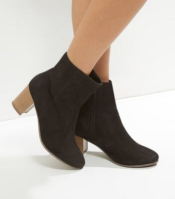 Wide Fit Black Suede Contrast Sole Heeled Ankle Boots