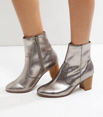 Wide Fit Silver Leather Contrast Block Heel Boots