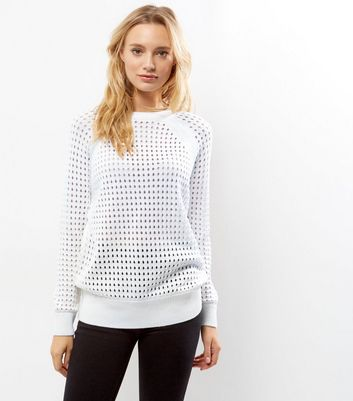 White Cut Out Long Sleeve Jumper