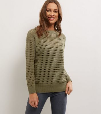 Khaki Mesh Cut Out Long Sleeve Jumper