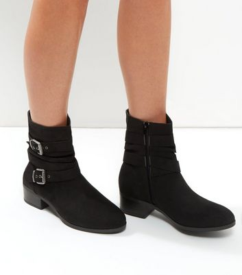 Wide Fit Black Buckle Strap Ankle Boots