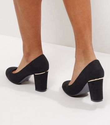 Wide Fit Black Suedette Metal Trim Court Shoes