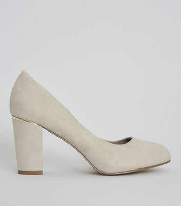 Wide Fit Grey Suedette Metal Trim Court Shoes