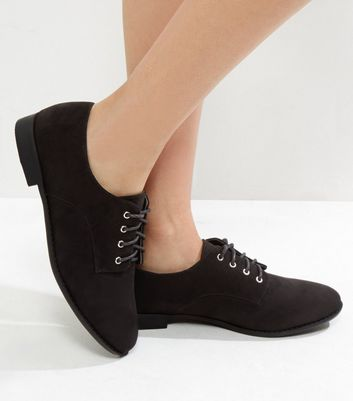 Wide Fit Black Suedette Lace Up Brogues