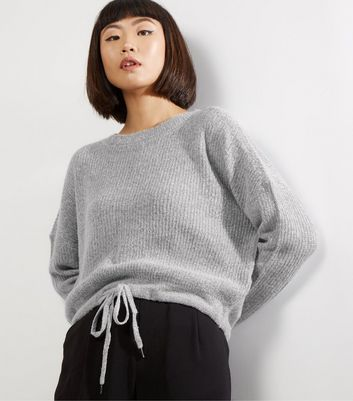 Noisy May Grey Tie Hem Long Sleeve Knitted Jumper