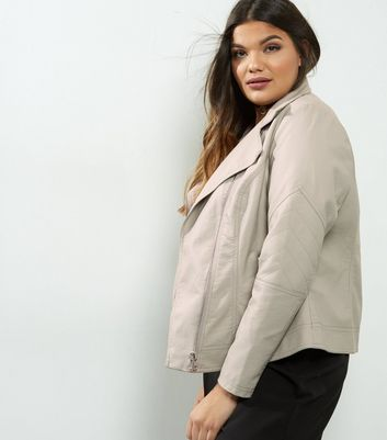 Curves Grey Leather-Look Jacket