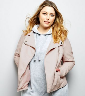Curves Pink Leather-Look Jacket