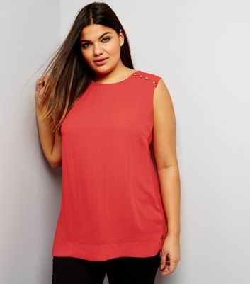 Curves Red Button Shoulder Jersey Back Sleeveless Top
