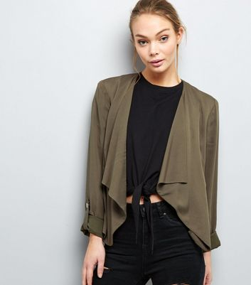 Khaki Waterfall Rolled Sleeve Blazer