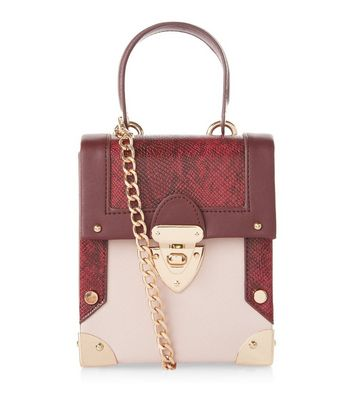 Burgundy Snakeskin Texture Panel Mini Box Bag