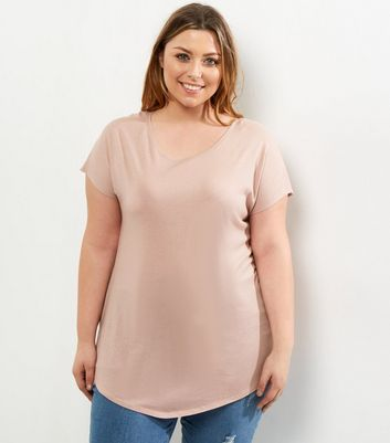 Curves Pink Split Side T-Shirt