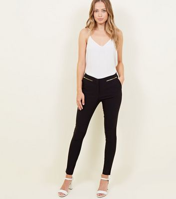 Black Zip Side Stretch Slim Leg Trousers