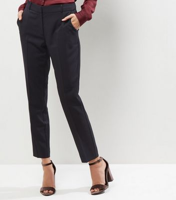 Black Stretch Slim Leg Cropped Trousers