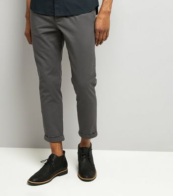 Dark Grey Pleated Tapered Cropped Trousers
