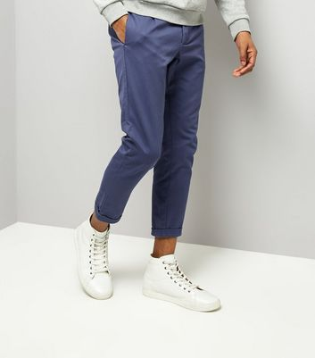 Navy Pleated Tapered Cropped Trousers