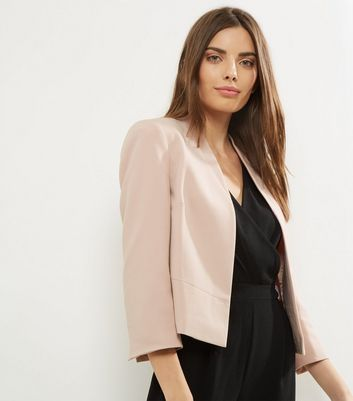 Shell Pink Cropped Smart Jacket