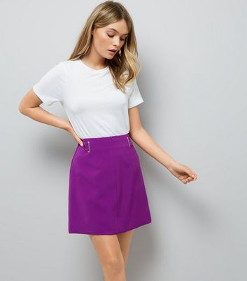Purple Eyelet Trim Crepe A-Line Skirt
