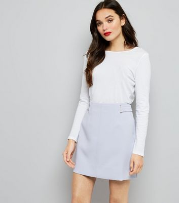 Lilac Eyelet Trim Crepe A-Line Skirt