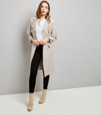 Stone Soft Belted Military Trench Coat